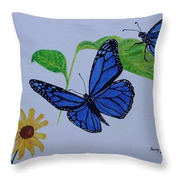 Blue Monarch Throw Pillow