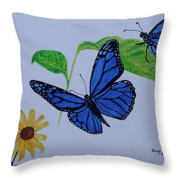 Blue Monarch Throw Pillow