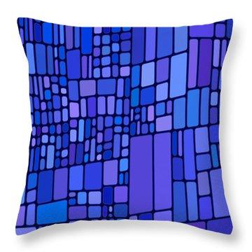 Blue Mondrian Throw Pillow