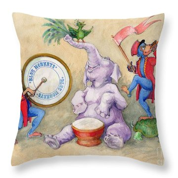 Throw Pillow featuring the painting Blue Monkeys Circus by Lora Serra