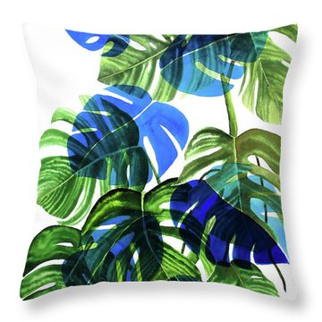 Blue Monstera Throw Pillow by Ana Martinez