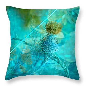 Blue Montage Throw Pillow by Bonnie Bruno