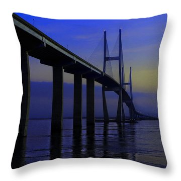 Blue Mood Bridge Throw Pillow
