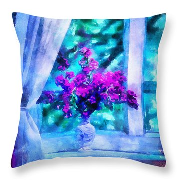 Blue Mood Throw Pillow by Shirley Stalter