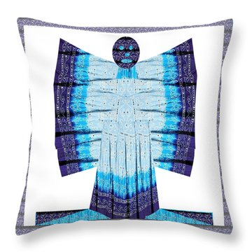 Blue Moon Butterfly Womens Fashion Couture From Jaipur India Cotton Printed Fabric With Embroidary W Throw Pillow