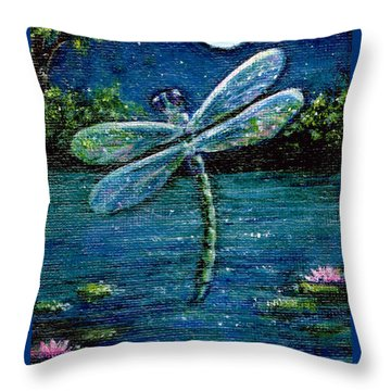 Blue Moon Dragonfly Throw Pillow