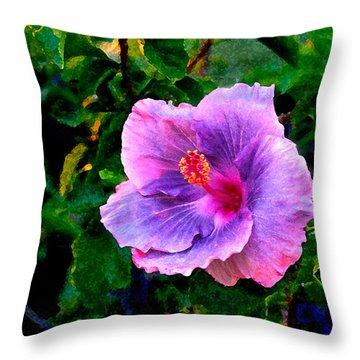 Blue Moon Hibiscus Throw Pillow by Steve Karol