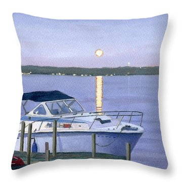 Throw Pillow featuring the painting Blue Moon by Lynne Reichhart
