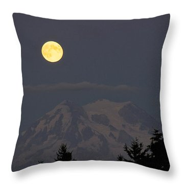 Blue Moon - Mount Rainier Throw Pillow