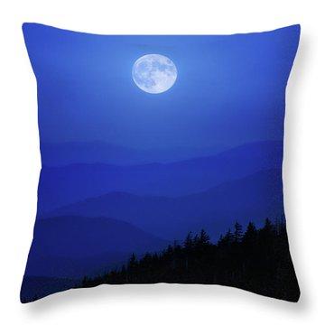 Blue Moon Over Smoky Mountains Throw Pillow
