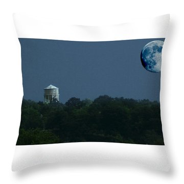 Blue Moon Over Zanesville Water Tower Throw Pillow
