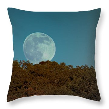 Blue Moon Risign Throw Pillow
