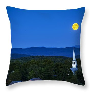 Blue Moon Rising Over Church Steeple Throw Pillow