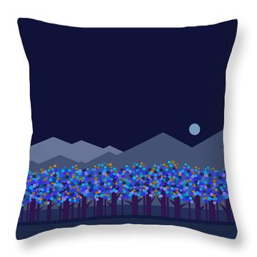 Blue Moon Throw Pillow by Val Arie