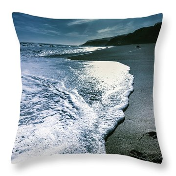 Throw Pillow featuring the photograph Blue Moonlight Beach Landscape by Jorgo Photography - Wall Art Gallery
