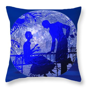 Blue Moonlight Lovers Throw Pillow