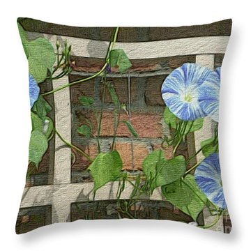Blue Morning Glories Throw Pillow