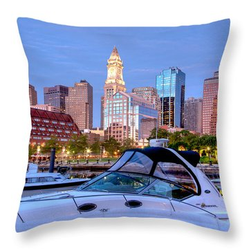 Blue Morning On Boston Harbor Throw Pillow