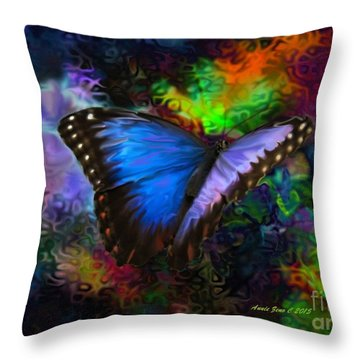 Blue Morpho Butterfly Throw Pillow by Annie Zeno