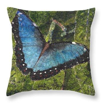 Blue Morpho Butterfly Batik Throw Pillow