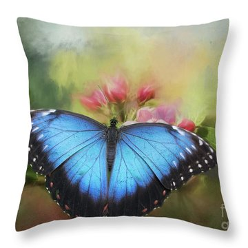 Blue Morpho On A Blossom Throw Pillow by Eva Lechner