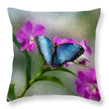 Blue Morpho With Orchids Throw Pillow