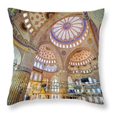 Blue Mosque Interior Throw Pillow