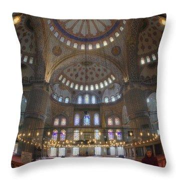 Blue Mosque Interior Throw Pillow by Joan Carroll