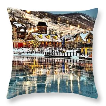 Blue Mountain Ice Reflection Throw Pillow