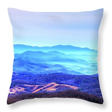 Blue Mountain Mist Throw Pillow by Dale R Carlson