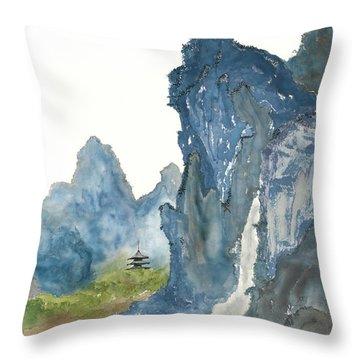 Blue Mountain Morning Throw Pillow