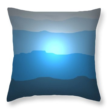 Blue Mountain Sun Throw Pillow