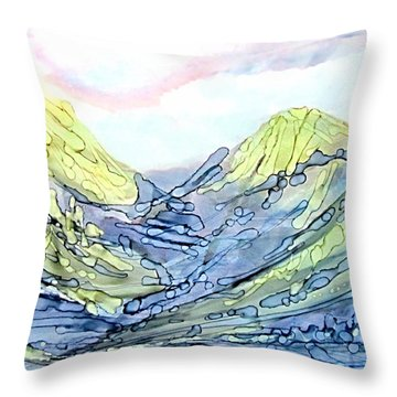 Blue Mountains Alcohol Inks  Throw Pillow by Danielle  Parent