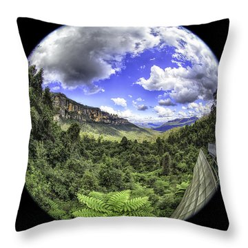 Blue Mountains Fisheye Throw Pillow