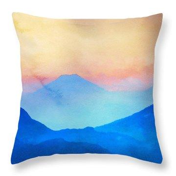 Blue Mountains Watercolour Throw Pillow