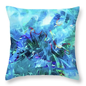 Blue Movement Throw Pillow