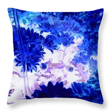 Blue Mums And Water Throw Pillow