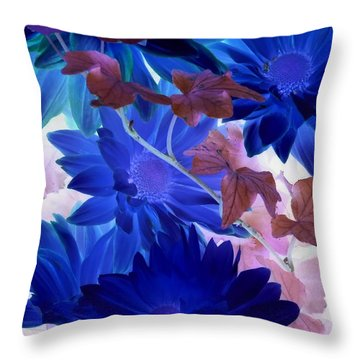 Blue Mums With Purple Ivy Throw Pillow