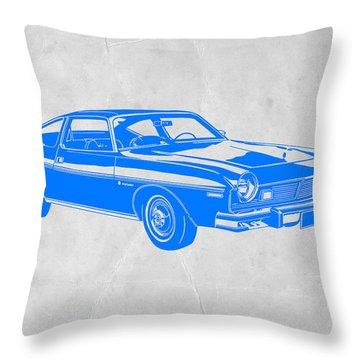 Blue Muscle Car Throw Pillow
