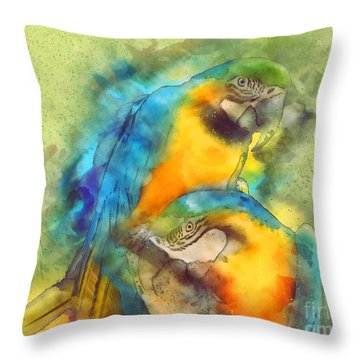 Blue N Gold Macaws Throw Pillow by Methune Hively