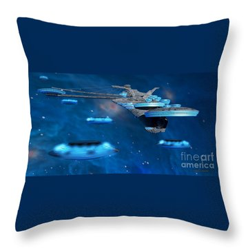 Blue Nebula Expanse Throw Pillow by Corey Ford