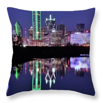Throw Pillow featuring the photograph Blue Night And Reflections In Dallas by Frozen in Time Fine Art Photography