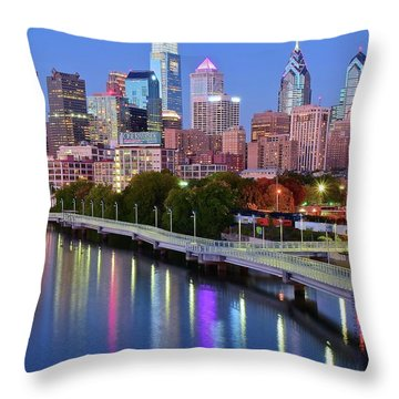 Throw Pillow featuring the photograph Blue Night Lights In Philly by Frozen in Time Fine Art Photography