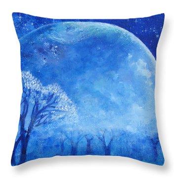 Blue Night Moon Throw Pillow by Ashleigh Dyan Bayer