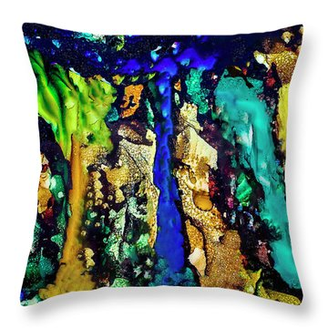 Throw Pillow featuring the painting Blue Night Waterfall by Melinda Ledsome