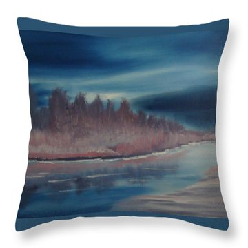 Throw Pillow featuring the painting Blue Nightfall Evening by Rod Jellison