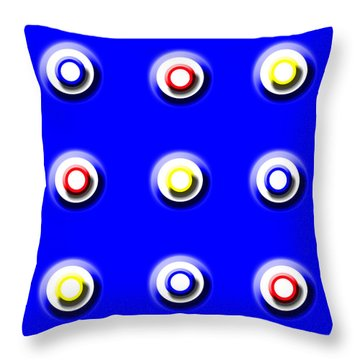 Blue Nine Squared Throw Pillow
