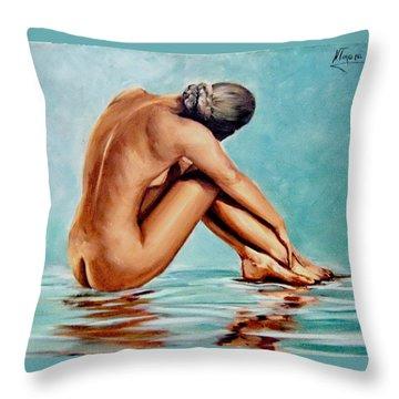 Blue Nude Throw Pillow