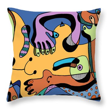 Blue Nude Number Two Throw Pillow by Geoff Greene