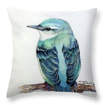 Blue Nuthatch Throw Pillow